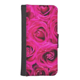 Romantic Pink Purple Roses Pattern iPhone SE/5/5s Wallet Case