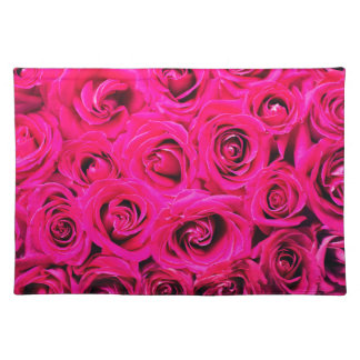 Romantic Pink Purple Roses Pattern Placemat