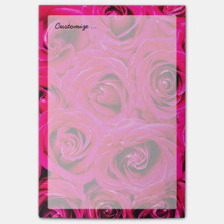 Romantic Pink Purple Roses Pattern Post-it Notes