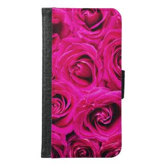 Romantic Pink Purple Roses Pattern Samsung Galaxy S6 Wallet Case