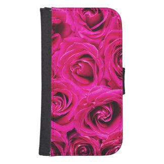 Romantic Pink Purple Roses Pattern Samsung S4 Wallet Case