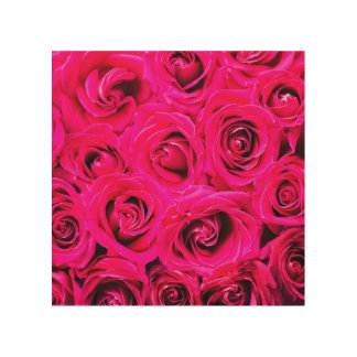 Romantic Pink Purple Roses Wood Print