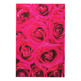 Romantic Pink Purple Roses Wood Wall Decor