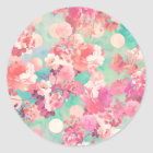Romantic Pink Retro Floral Pattern Teal Polka Dots Classic Round Sticker