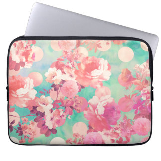 Romantic Pink Retro Floral Pattern Teal Polka Dots Laptop Computer Sleeve