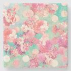 Romantic Pink Retro Floral Pattern Teal Polka Dots Stone Coaster