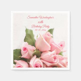 Romantic Pink Rose Bouquet  Birthday Disposable Serviette