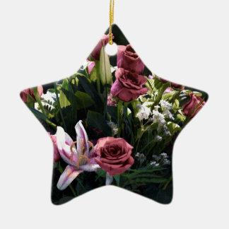 Romantic Pink Rose Bouquet Ceramic Star Decoration