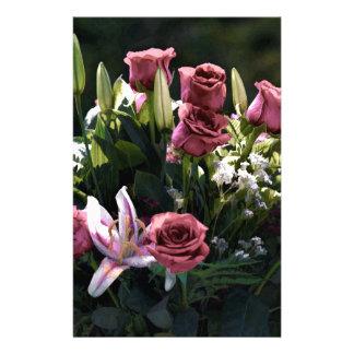 Romantic Pink Rose Bouquet Custom Stationery