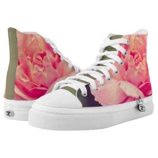 Romantic pink rose high tops