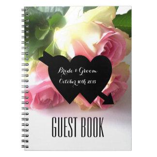 Romantic pink rose photo wedding guest book spiral notebook