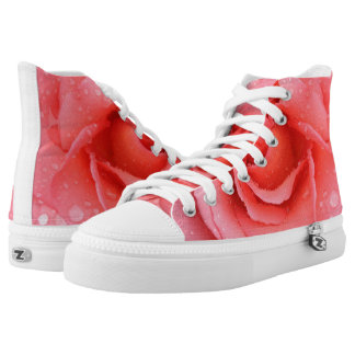 Romantic Pink Rose Water Drops High Tops