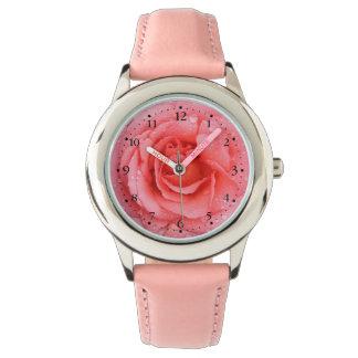 Romantic Pink Rose Water Drops Wrist Watch