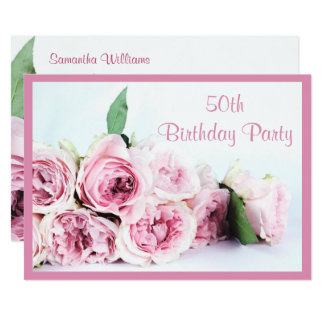 Romantic Pink Roses 50th Birthday Card