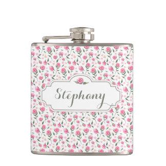 Romantic Pink Roses Custom Name Feminine Flask