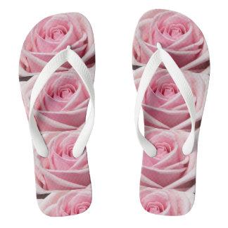 Romantic Pink Roses Design Flip Flops Thongs