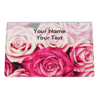 Romantic Pink Roses Desk Business Card Holder