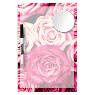 Romantic Pink Roses Dry Erase Board With Mirror