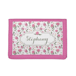 Romantic Pink Roses Girly Pretty Nylon Wallet