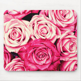 Romantic Pink Roses Mouse Pad