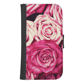 Romantic Pink Roses Samsung S4 Wallet Case