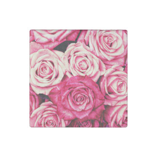 Romantic Pink Roses Stone Magnet