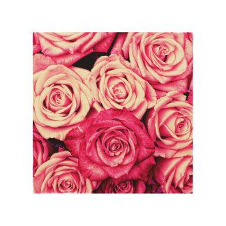 Romantic Pink Roses Wood Wall Art