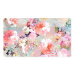Romantic Pink Teal Watercolor Chic Floral Pattern Business Card Template