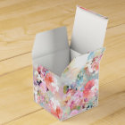 Romantic Pink Teal Watercolor Chic Floral Pattern Favour Box