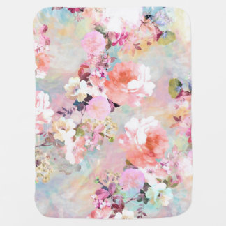 Romantic Pink Teal Watercolor Chic Floral Pattern Pram blanket