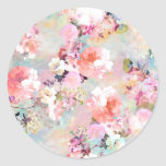 Romantic Pink Teal Watercolor Chic Floral Pattern Round Sticker