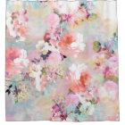 Romantic Pink Teal Watercolor Chic Floral Pattern Shower Curtain