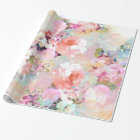 Romantic Pink Teal Watercolor Chic Floral Pattern Wrapping Paper