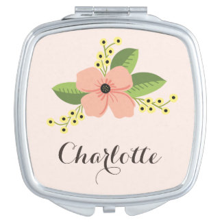 Romantic Pink Tropical Flower Floral Makeup Mirror