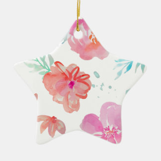 Romantic Pink Watercolor Flowers Ceramic Star Decoration
