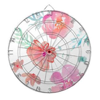 Romantic Pink Watercolor Flowers Dartboard