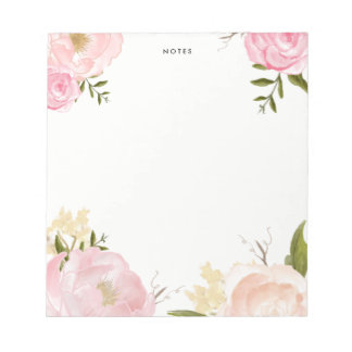 Romantic Pink Watercolor Flowers Notepad