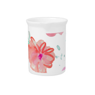 Romantic Pink Watercolor Flowers Pitcher