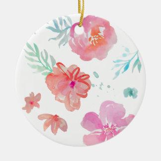 Romantic Pink Watercolor Flowers Round Ceramic Decoration