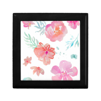 Romantic Pink Watercolor Flowers Small Square Gift Box