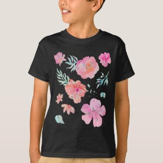 Romantic Pink Watercolor Flowers T-Shirt