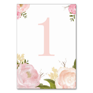Romantic Pink Watercolor Flowers Table Number 1 Table Cards