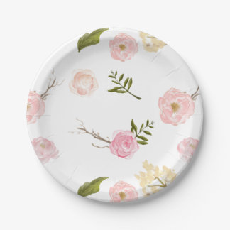 Romantic Pink Watercolor Garden Floral 7 Inch Paper Plate