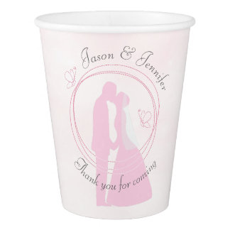 Romantic Pink Wedding Couple Custom Paper Cup