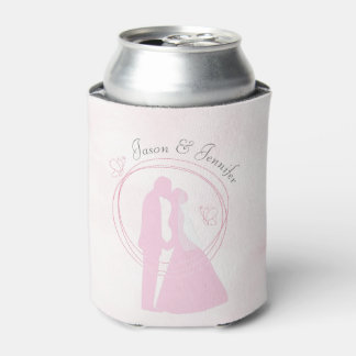 Romantic Pink Wedding Couple Names Can Cooler