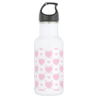 Romantic Pink & White Hearts 532 Ml Water Bottle