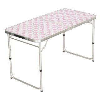 Romantic Pink & White Hearts Beer Pong Table