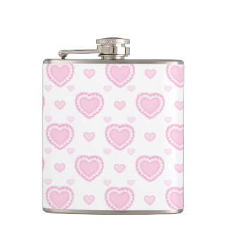 Romantic Pink & White Hearts Hip Flask