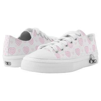 Romantic Pink & White Hearts Low Tops