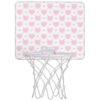 Romantic Pink & White Hearts Mini Basketball Hoop